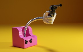 Картинка Пистолет, Юмор, Злой, Gun, Коробка, Револьвер, Revolver, Box, Funny, Angry, Humor, Прикол, Surprise attack, Surprise, …