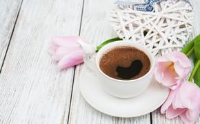 Картинка кофе, букет, утро, сердечко, Olena Rudo
