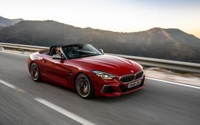 Картинка красный, движение, BMW, родстер, BMW Z4, M40i, Z4, 2019, UK version, G29
