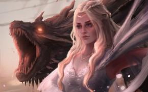 Картинка дракон, фэнтези, арт, фрагмент, Игра Престолов, Game of Thrones, Daenerys, Mother of Dragons, Gavin Wynford