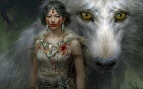 Картинка Fantasy, Art, wolf, Princess Mononoke, hunting, other