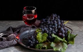 Картинка вино, красное, бокал, виноград