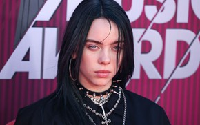 Картинка брюнетка, шипы, певица, черные волосы, singer, Billie Eilish, Билли Айлиш