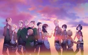 Картинка закат, Небо, аниме, арт, Shingeki no Kyojin, Атака титанов, Персонажи, Вторжение гигантов