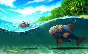 Картинка море, волны, пальмы, остров, рыба, арт, Big Fish, Jeremy Bennison