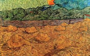 Картинка солнце, сено, Винсент ван Гог, Evening Landscape, with Rising Moon