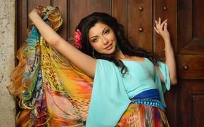 Обои взгляд, поза, юбка, руки, разноцветная, цыганка, Аделина, Алексей Назаров