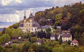 Картинка деревья, пейзаж, природа, город, дома, Германия, холм, церковь, храм, купола, Вюрцбург