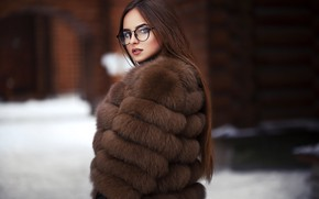 Картинка зима, Девушка, очки, Maksim Romanov, Саша Охотская
