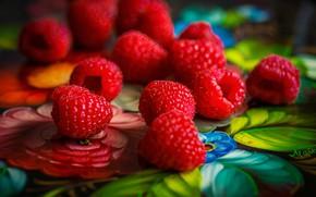 Картинка макро, ягоды, малина, поднос