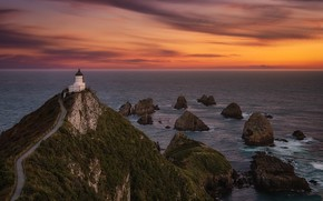 Картинка twilight, New Zealand, Nugget Point Lighthouse