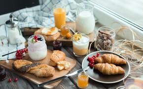 Картинка ягоды, завтрак, молоко, сок, смородина, круассан