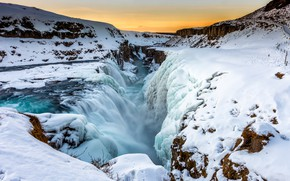 Картинка холод, зима, небо, снег, пейзаж, горы, природа, река, камни, скалы, зимний, водопад, поток, расщелина, сугробы, …