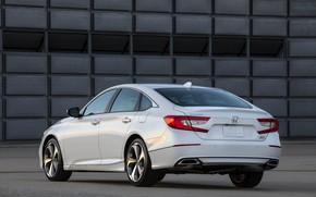 Картинка белый, Honda, Accord, седан, вид сзади, 2018, Touring, 2.0T, четырёхдверный