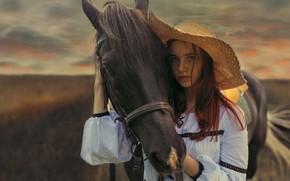 Картинка взгляд, девушка, конь, лошадь, шляпа, Иван Лосев, лошадиная морда