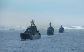 Картинка корабли, учения, десантные, проект 775, кильватер