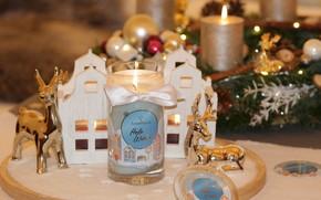 Картинка праздник, свечи, Рождество, Новый год, домики, олени, новогодние украшения, новогодние декорации