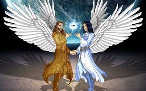 Картинка планета, ангелы, мужчины