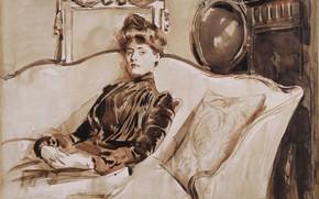 Картинка портрет, картина, 1892, Поль Сезар Эллё, Paul Cesar Helleu, Мадам Эллё