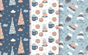 Картинка снег, фон, елки, новый год, текстура, Winter, Tree, pattern, Coffee, collection, Snowflakes