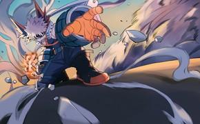 Картинка осколки, движение, парень, My Hero Academia, Boku No Hero Academia, Bakugou Katsuki, Моя Геройская Академия, …