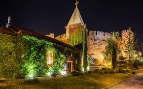Картинка деревья, ночь, огни, стена, башни, крепость, кусты, Сербия, Белград, Belgrade Fortress