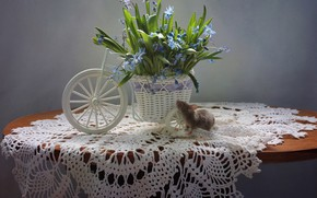 Картинка цветы, весна, мышь, натюрморт, пролески