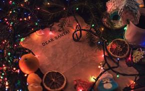 Картинка письмо, огни, бумага, праздник, надпись, Рождество, Новый год, гирлянда, хвоя, новогодние украшения, дорогой Санта