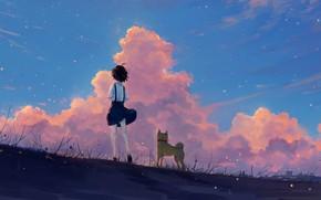 Картинка небо, девушка, закат, природа, собака, Axle