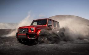 Картинка Red, Speed, AMG, Sand, G-Class, G63, Mercedes- Benz, 2019