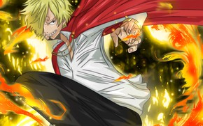Картинка огонь, парень, One Piece