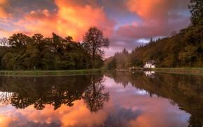 Обои осень, лес, белый, небо, цвета, облака, деревья, закат, озеро, дом, пруд, парк, берег, яркие, остров, ...