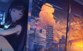 Картинка девочка, напиток, закат солнца, свет в окнах, у окна, вечерний город, розовые облака, арматура, отражение …