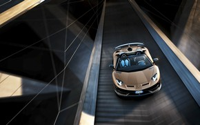 Картинка машина, движение, Lamborghini, спорткар, вид сверху, roadster, Aventador, SVJ