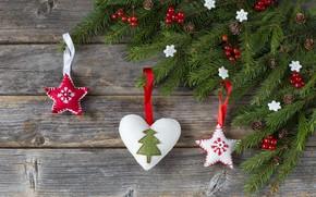 Картинка украшения, шары, Новый Год, Рождество, christmas, balls, wood, hearts, merry, decoration, fir tree, ветки ели