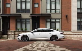 Картинка белый, тюнинг, Volkswagen, вид сбоку, R-Line, лифтбэк, Arteon, 2019