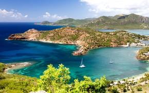 Картинка яхта, остров, море, Антигуа и Барбуда, Карибы