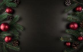 Картинка шары, елка, Новый Год, Рождество, Christmas, balls, New Year, decoration, Merry, fir tree, ветки ели