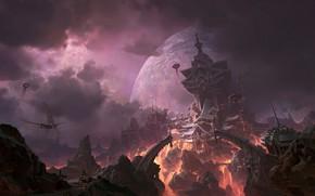 Картинка Небо, Город, Планета, Дворец, Замок, Стиль, City, Fantasy, Sky, Арт, Art, Planet, Style, Palace, Фантастика, …
