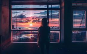 Картинка девушка, закат, город, комната, спина, вид, окна, арт
