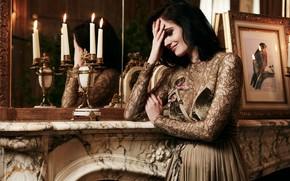 Картинка девушка, поза, модель, свечи, платье, зеркало, брюнетка, Eva Green