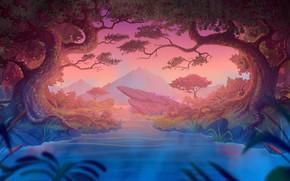 Картинка Вода, Вечер, Горы, Деревья, Лес, Fantasy, Пейзаж, Art, Landscape, Water, Style, Evening, Mountains, River, Lake, ...