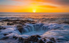 Картинка море, волны, закат, поток, воронка