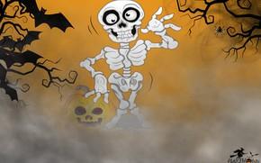 Обои фон, скелет, хэллоуин