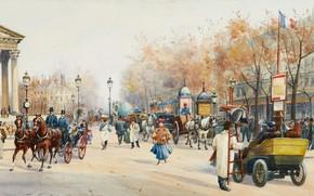 Картинка Франция, Париж, акварель, городской пейзаж, «Boulevard des Capucines», Anna Sofia Palm de Rosa
