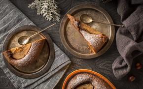 Картинка пирог, тарелки, кусочки пирога, грушевый