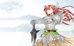 Картинка меч, доспехи, Fairy Tail, Эльза, Хвост феи