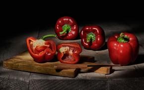 Картинка красный, еда, нож, перец, черный фон, натюрморт, овощи, предметы, композиция, сладкий, болгарский, паприка, разделочная доска