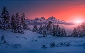 Картинка зима, снег, горы, рассвет, утро