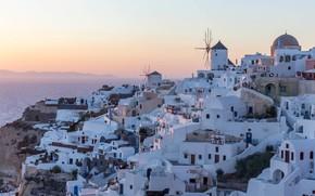 Картинка море, небо, скалы, дома, Санторини, Греция, горизонт, залив, дымка, белые